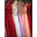 Robe De Soiree Pearls Beaded Appliques Sleeveless Sheer Pink/Red/Blue Evening Dresses Long Formal Party Prom Bride Gowns GD167