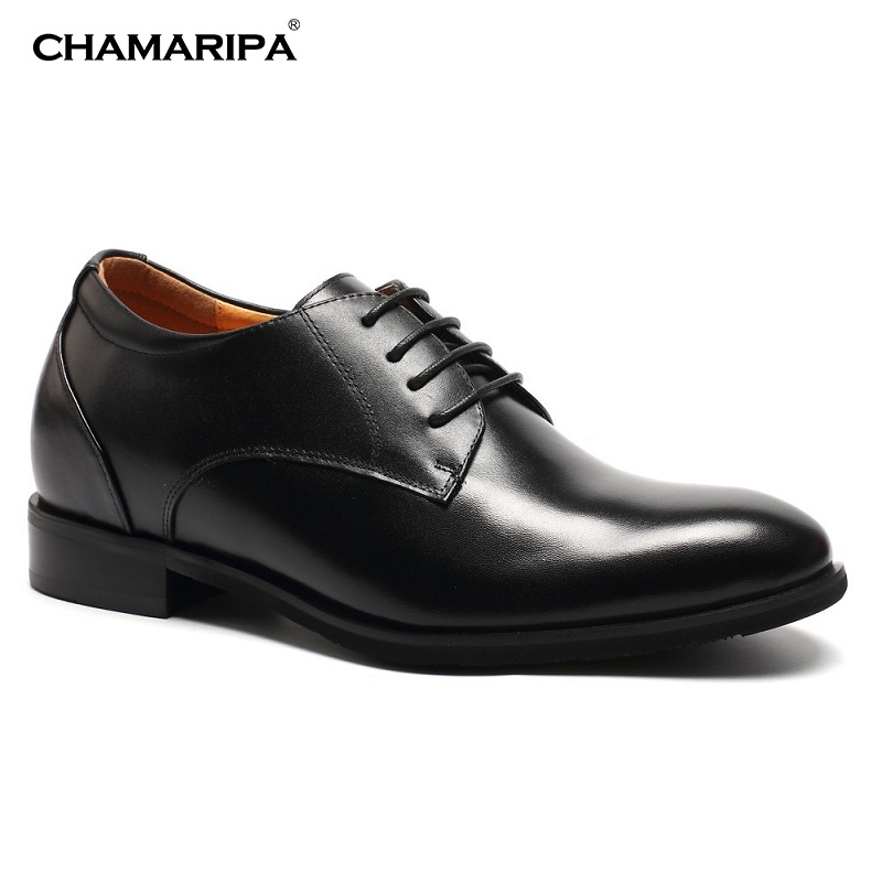 CHAMARIPA Elevator shoes  Black Men Dress Shoes  Increase Height 7.5cm/2.95 inch Taller Hidden Height Increasing DX70H106S  chamaripa increase height 7cm 2 76 inch taller elevator shoes black mens leather summer sandals height increasing shoes