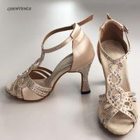 Ballroom Party Women Dance Shoes Shining Satin Rhinestones Soft Bottom High Heels 9CM Salsa Bachata Latin Dance Shoes for lady
