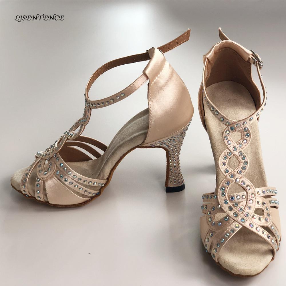 Salon fête femmes chaussures de danse brillant Satin strass bas doux talons hauts 9 CM Salsa Bachata chaussures de danse latine pour dame