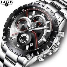 LIGE Brand Men's Fashion Hollow Design Watch Men's Sports Waterproof Quartz Watch Men all Steel Military watch Relogio Masculino