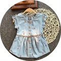 Free Shipping 6pcs/lot Water Washed Denim Dresses with Sashes For 2-9yrs Baby Girls