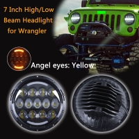 TNOOG FOR Lada 4x4 Urban 2 PCS 105W 7 Inch Round LED Headlight With White Amber