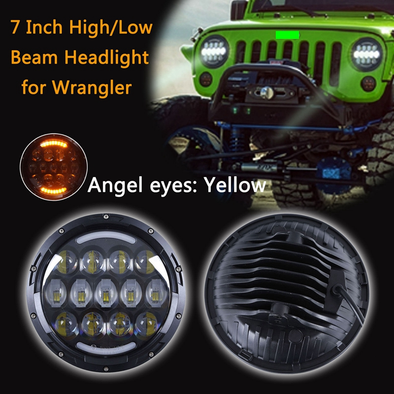 TNOOG FOR Lada 4x4 urban 2 PCS 105W 7 Inch Round LED Headlight with White/ amber Turn Signal DRL for Jeep Wrangler Hummer H1