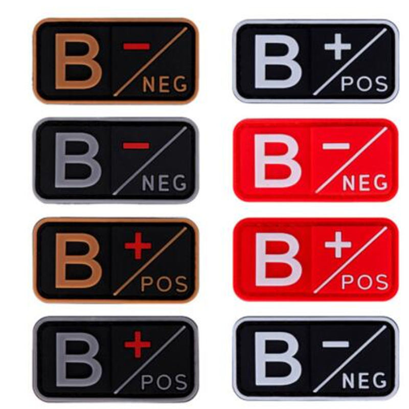 Yellow Souvenirs Team Sports 3D PVC A+ B+ AB+ O+ Positive A- B- AB- O- Negative Blood Type Patch Military Tactical Rubber Badges