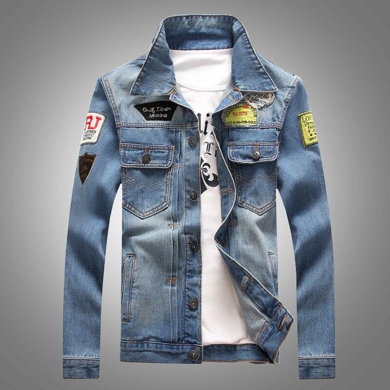 2018 Männer Denim Jacke Beiläufige Dünne Jean Jacke Mantel Im Freien Mode Herbst Langarm Jacke Masculino Outwear Patchwork M-4xl
