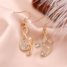 SexeMara New Stylish Geometric Music Dream Symbol Asymmetric Notes Ear Hook Crystal Silver Color Dangle Earrings Gift