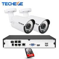 Techege 4CH 1080P CCTV System POE NVR 1080P Output 2PCS 3000TVL 2MP IP Camera Waterproof Video