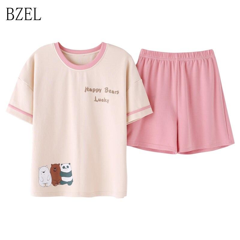 BZEL Pink Pajama Set Cute Cartoon Animal Print Homewear Suit Women O-neck Nightgown Ladies Lounge Wear Summer Homewear Big Yard