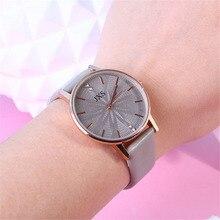 Reloj hombre Minimalist Diamond Round Dial leather band clock women bracelet for watches Quartz Wrist moda mujer Analog hour B30