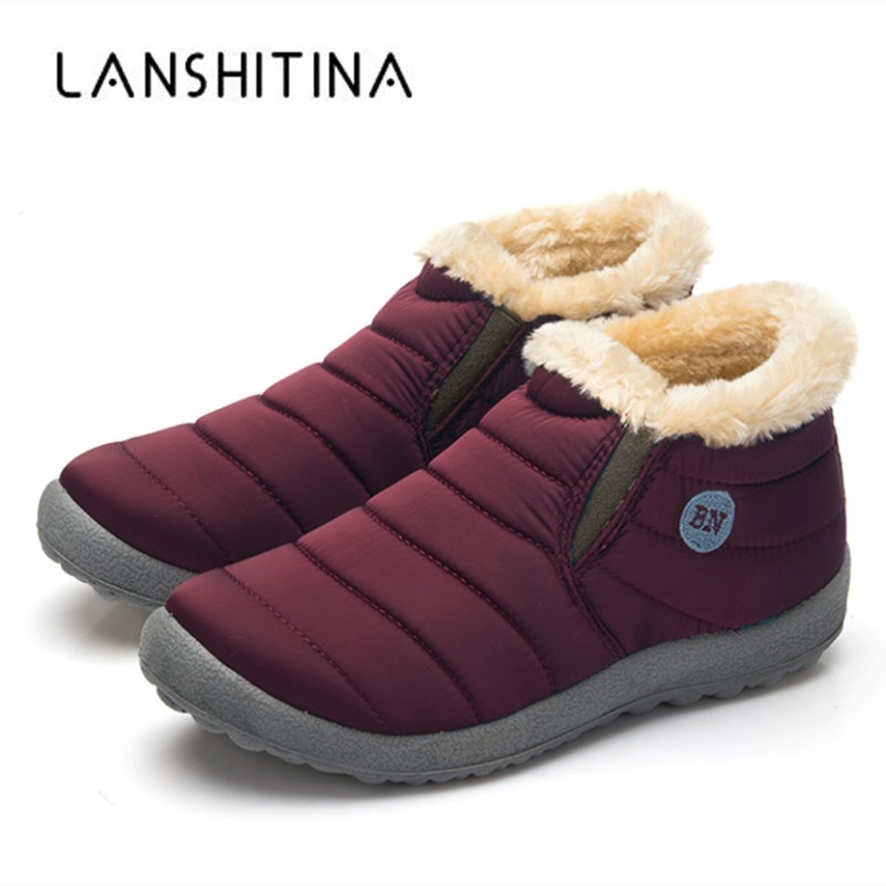 Snow-Boots Warm Waterproof Winter Casual-Shoes Cotton Plush Antiskid-Bottom Inside Size-35-48