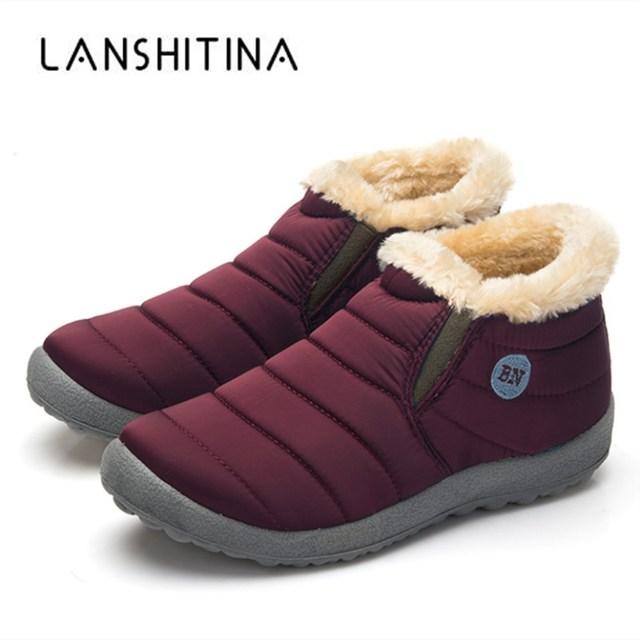 2018 New Winter Warm Snow Boots Cotton Inside Antiskid Bottom Warm Fur Waterproof Ski Boots Plush Inside Casual Shoes Size 35-48