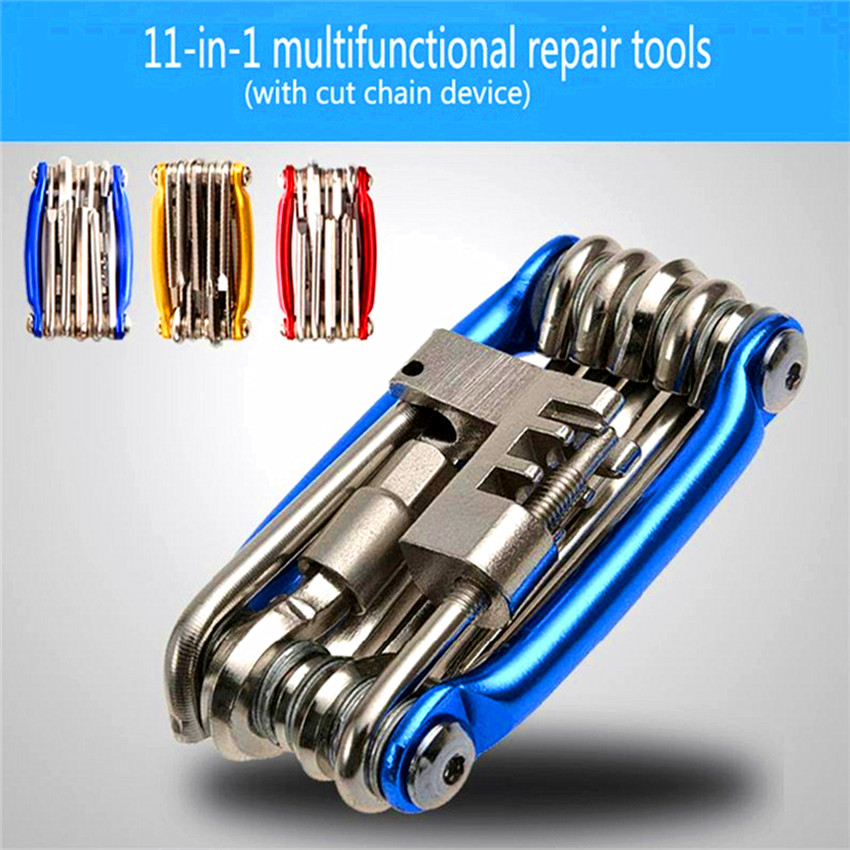 High Quality 11 In 1 Bike Tool Mini Repair Pocket Folding Tools Cycling Repair Tools Kit Wrench Bicycle MTB Bike Set Accessories