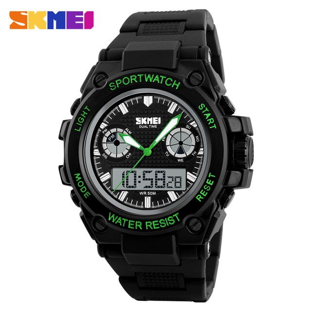 SKMEI Men Sports Watches 50M Waterproof LED Dual Display Quartz Digital Watch Big Dial Wristwatches Man Relogio Masculino 1217