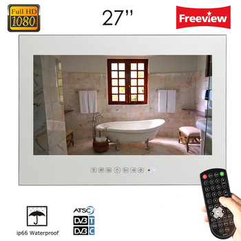 "Souria 27"" inch Full HD1080 Vanishing Magic Mirror LED Bathroom Hotel Luxury TV Wall Mounted Shower Box Water Resistant"
