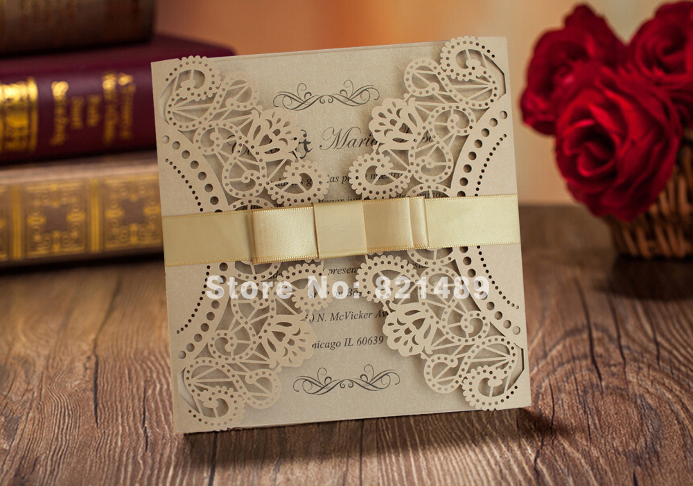 Fancy golden lace wedding invitation with ribbon bow royal gold fancy golden lace wedding invitation with ribbon bow royal gold laser cut wedding invitation cards set of 50 in cards invitations from home garden on stopboris Image collections