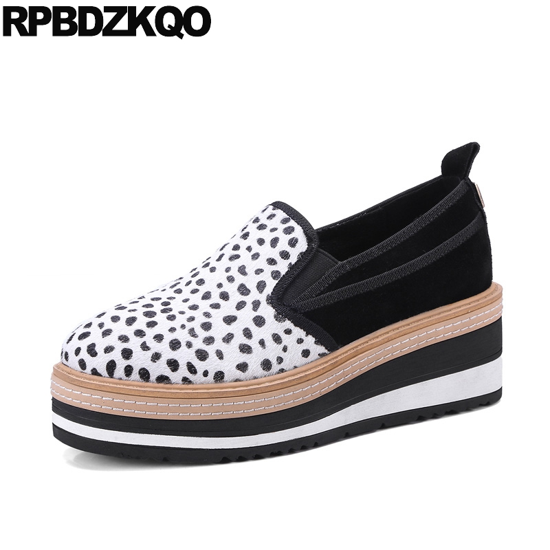 Elastic Cute Women Wedge Loafers Muffin Elevator Leopard Print 2018 Designer Creepers Platform Shoes Thick Sole Drop Shipping