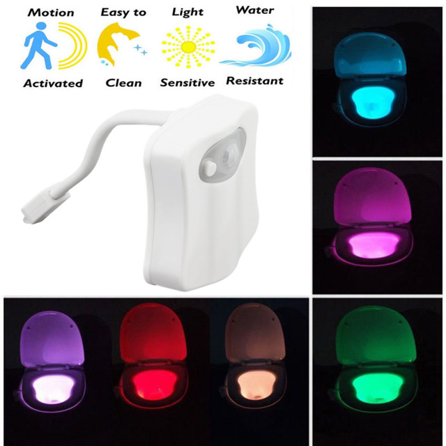 ICOCO 8 Color LED Toilet Night Light Body Motion Activated Seat Sensor Night Light for Bathroom Drop Shipping Wholesale
