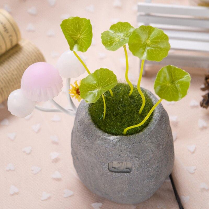 US Plug Mushroom Potted Plant LED Night Light Colorful Lights Sensor Sensitive Lamp For Baby Kids Children Bedside Decoration