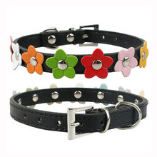 Neck Leather Collar / Dog Strap – Flowers design
