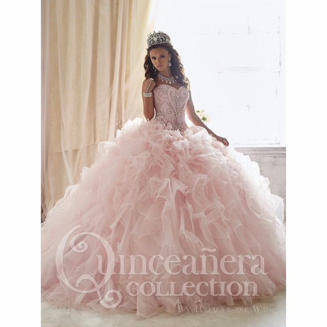 Lovely Pink Ball Gown Sweet 15 Dresses 2017 Beaded Quinceanera Dresses with Detachable Train Floral Prom
