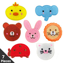 7 Pieces Cartoon Patch Applications on Clothes Iron Patches for Embroidery Stripe Cloth Stickers