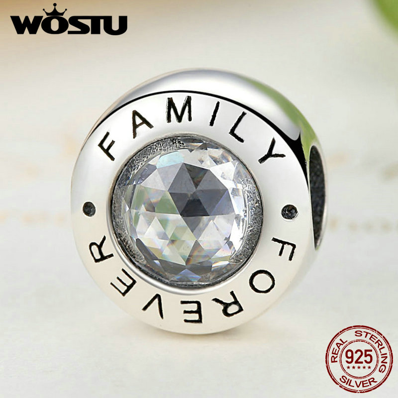 цены High Quality 925 Sterling Silver Family Forever Charm Beads With Clear CZ Fit Original WST Bracelet Authentic Jewelry FBS378