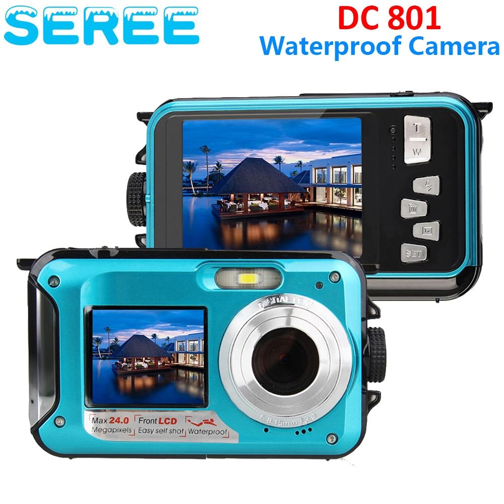 ФОТО Seree 5MP CMOS 2.7inch TFT Digital Camera Waterproof 24MP MAX 1080P Double Screen 16x Digital Zoom Camcorder Wholesale