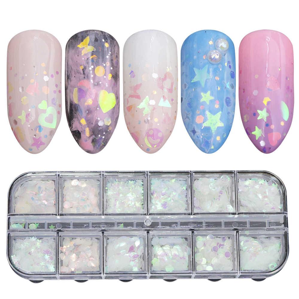 12 Grids Putri Duyung Transparan Nail Glitter Flakes Senyum Bunga Paillette Nail Art Dekorasi Manikur Gel Polandia Payet TRHW-2
