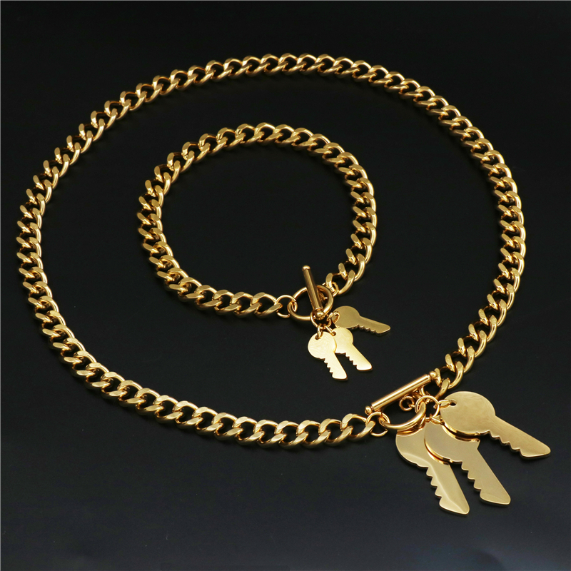 Bracelets-Set Jewelry-Sets Heart-Shape Pendants Stainless-Steel Women Gold-Color And