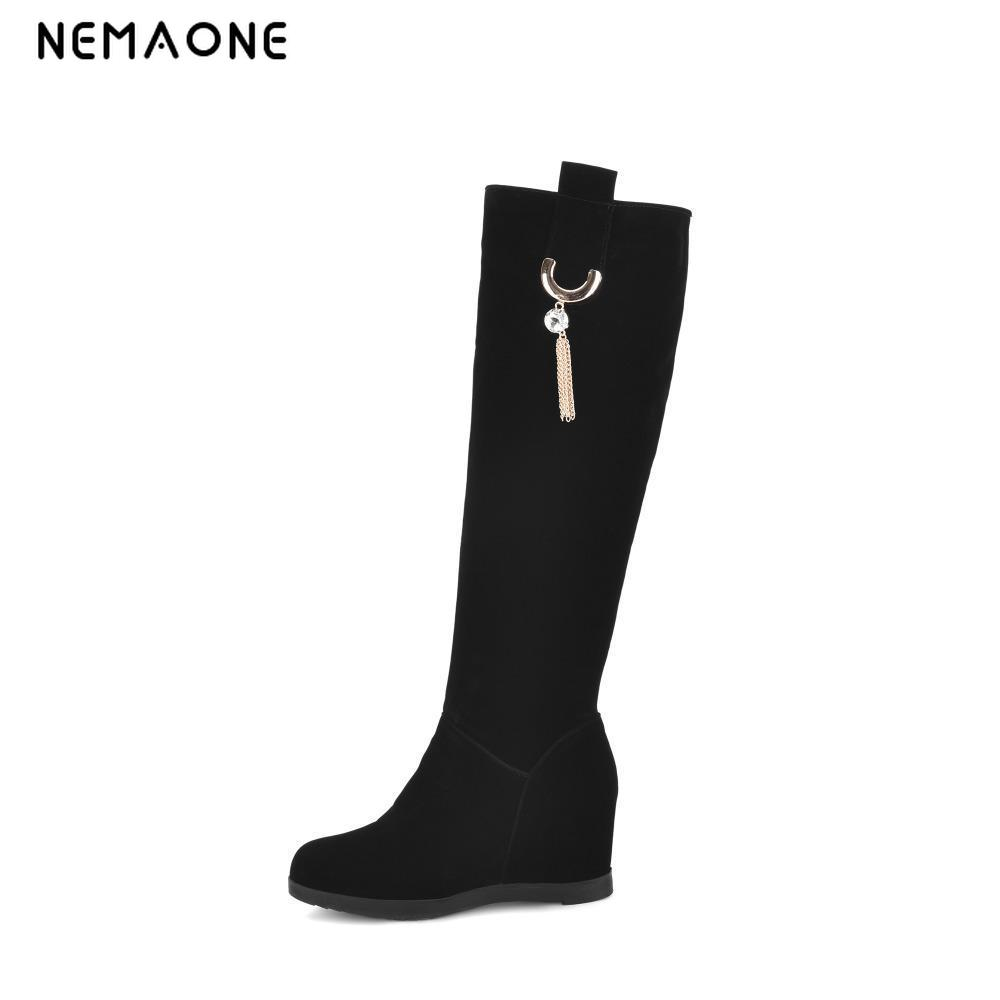 цены на NEMAONE New Big Size 34-43 winter hidden wedge knee high boots Fashion women boots casual women dress boots