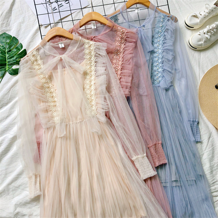 Gowyimmes 2019 Spring Two Pieces Elegant women Bow Tie Long sleeve Mesh dress+ Vest Midi Long Beading Lace dressess vestidos 237 6