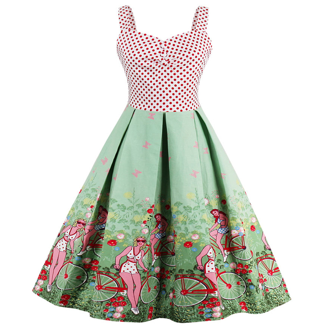 56951697c4ec2 Kenancy Plus Size 4XL Dot Patchwork Pattern Print Summer 50s 60s Vintage  Dress Rockabilly Swing Feminino