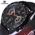 Forsining automáticas mens relógios top marca de luxo homens pulseira de couro genuíno relógio mens data relógio masculino esporte militar relógio de pulso