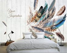beibehang papel de parede Scandinavian modern minimalist colored feather wood background wall decorative painting wallpaper