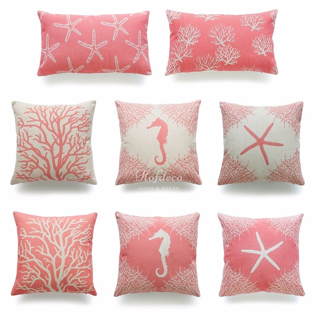 fabric case decorative item heavy weight cushion coral throw pillow beach and starfish lumbar seahorse sea