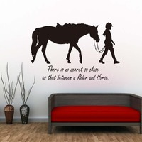 There Is No Secret So Close Girl And Horse Wall Stickers Bedroom Sofa Background Removable Vinyl Removable Wall Decals