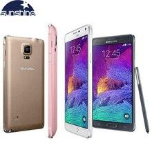 Оригинальный разблокирована Samsung Galaxy Note 4 N910 N9100 LTE 4 г мобильного телефона 16.0MP 5.7 «3 ГБ Оперативная память 16 г/32 ГБ Встроенная память NFC WI-FI смартфон