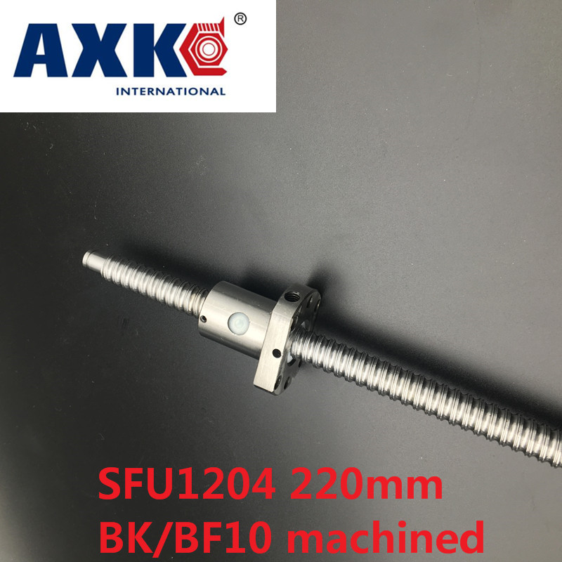 Linear Rail Axk Free Shipping Sfu1204 220mm Ballscrew With Single Ballnut For Cnc Parts Bk/bf10 Machined Woodworking Machinery best price linear scale 5micron linear encoder 120 170 220 270 320 370 420 470 520mm optical linear ruler free shipping