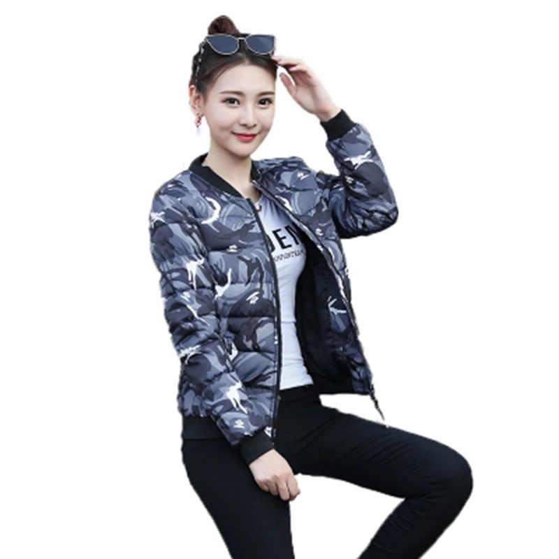 2018 новая зимняя Для женщин стеганая куртка Женский короткий тонкий камуфляжные парки куртка Женская хлопчатобумажная набивная тонкая бейсбольная одежда F736