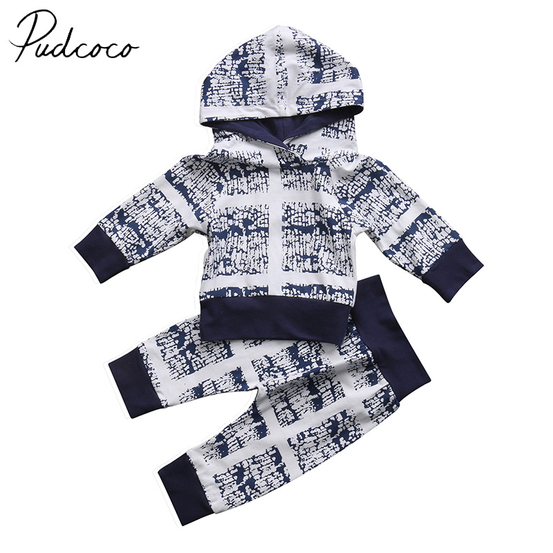 PUDCOCO Brand Cotton Blend Newborn Baby Clothes Boy Girls Infant Clothes Hooded T-shirt Tops Pants Outfits Set 2PCS organic airplane newborn baby boy girl clothes set tops t shirt pants long sleeve cotton blue 2pcs outfits baby boys set