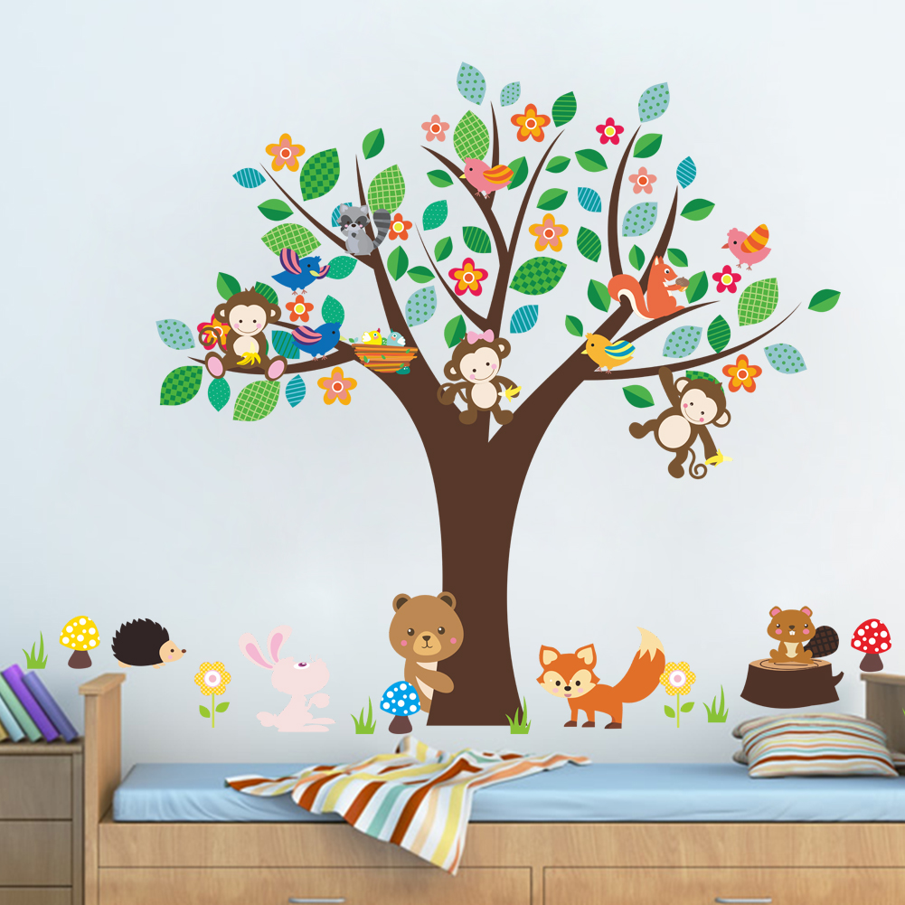 monkey swing forest animals tree DIY removable wall sticker kids baby nursery bedroom poster decorative home decor decal mural