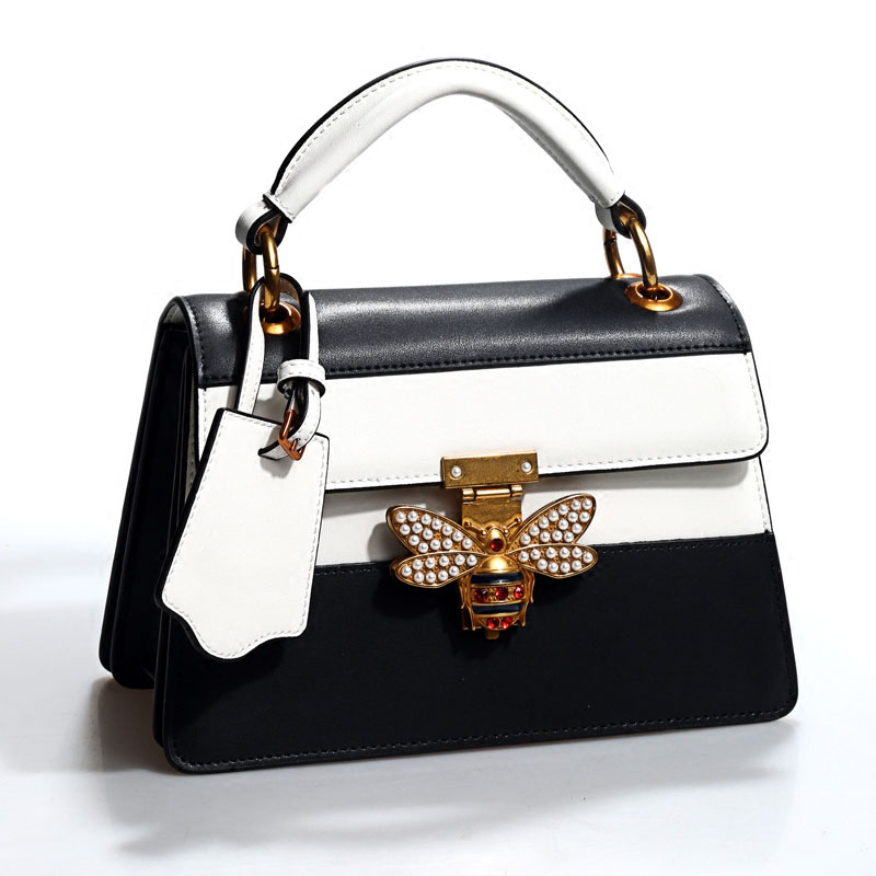 New buckle single shoulder fashion trend hit color leather bee lock buckle decoration ladies handbag diagonal small square bag every new small package special offer hit color box package fashion lock small bag shoulder bag in early autumn