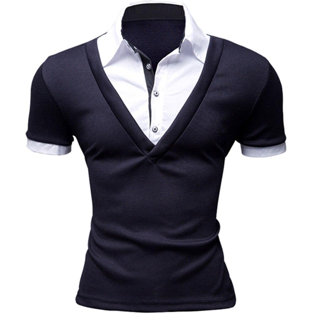 Factory Direct Clothing Fashion Men's Polo Shirt Short Sleeve Fake layered V-neck Luxury Casual Polos LB