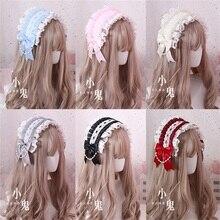 Headband Hairpin-Accessories Cosplay Japanese Sweet Lolita Trim Lace Retro Soft Bowknot