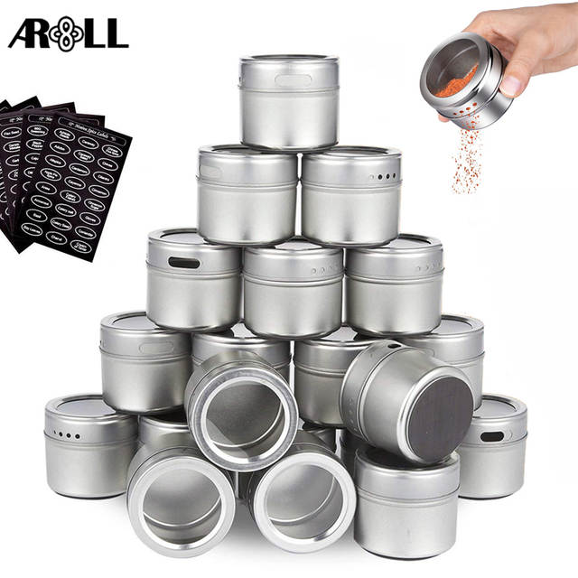 New Magnetic Spice Jars Tins Stainless Steel Spice Jars Set with Clear Lid  Labels Seasoning Pepper Spice Storage Container Box