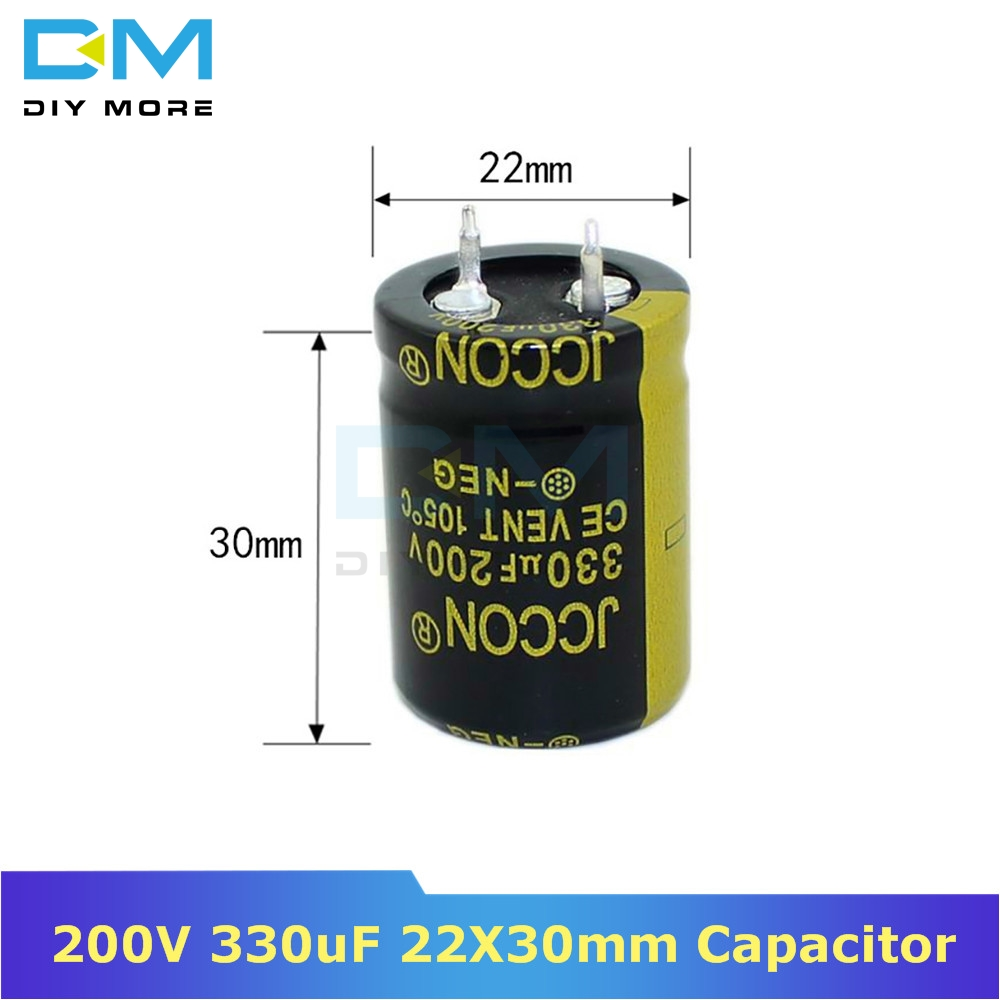 200V 330uF 22X30mm 22X30 Aluminum Electrolytic Capacitor High Frequency Low Impedance Through Hole Capacitor 22*30mm Diymore