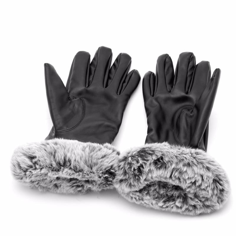 Women Touch Screen Black Leather Gloves Winter Warm Rabbit Fur Mittens
