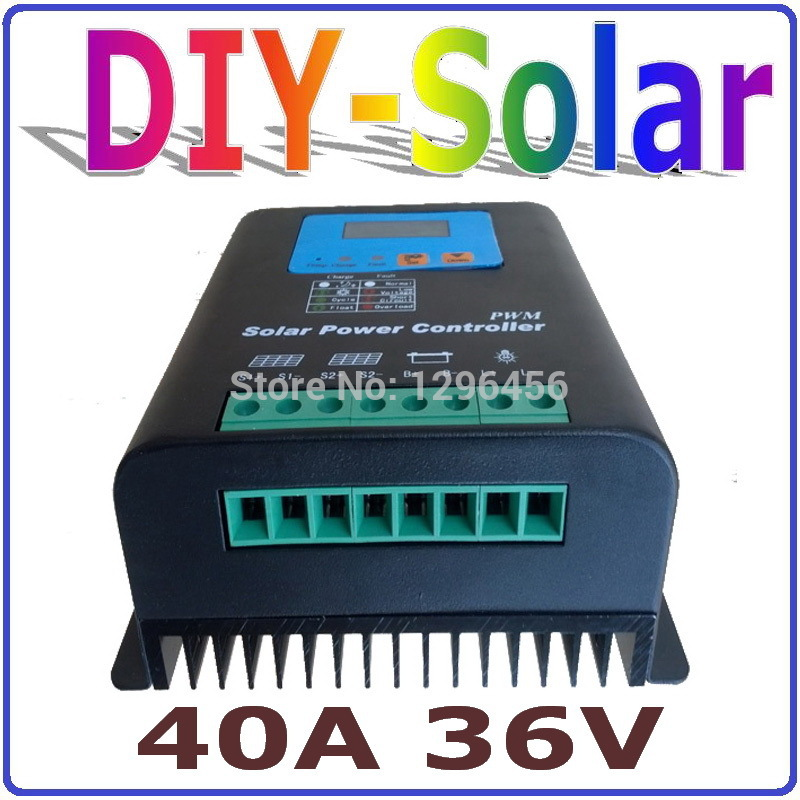 40A 36V Solar Charge Controller, Solar Controller Solar system 36V, PV panel Battery Regulator 40A 36V for 1500W Solar System 20a 12 24v solar regulator with remote meter for duo battery charging