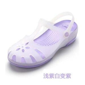 Image 5 - Zuecos de verano transpirables para mujer, sandalias de gelatina, calzado para jardín